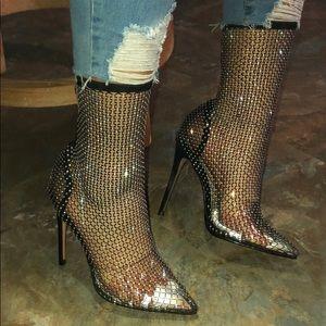 Rhinestone fishnet heels **brand new never worn**